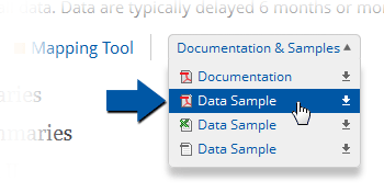 Example image showing where documentation and samples are available on the datasets page.