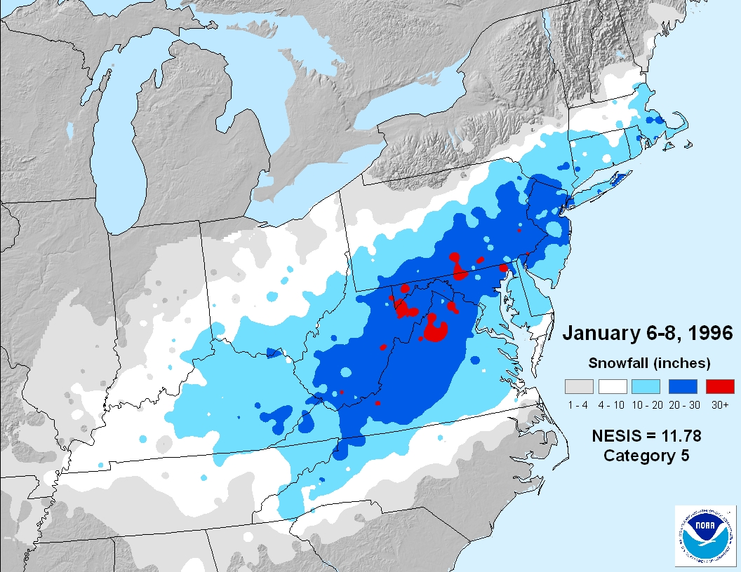 Regional Snowfall Index RSI Snow And Ice National Centers - Us snowfall map 2009