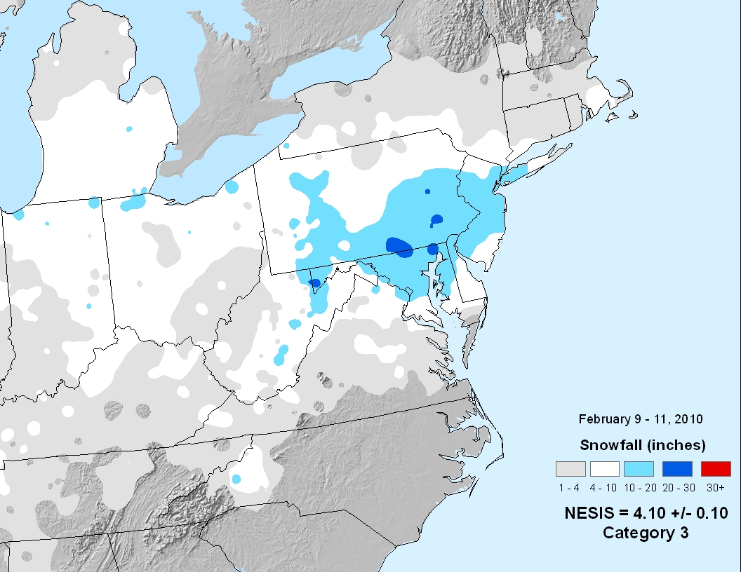 National Snow  Ice February  State Of The Climate - Us snowfall map 2009