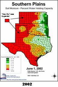 Click here for graphic showing Southern Plains soil moisture, April 1, 2002