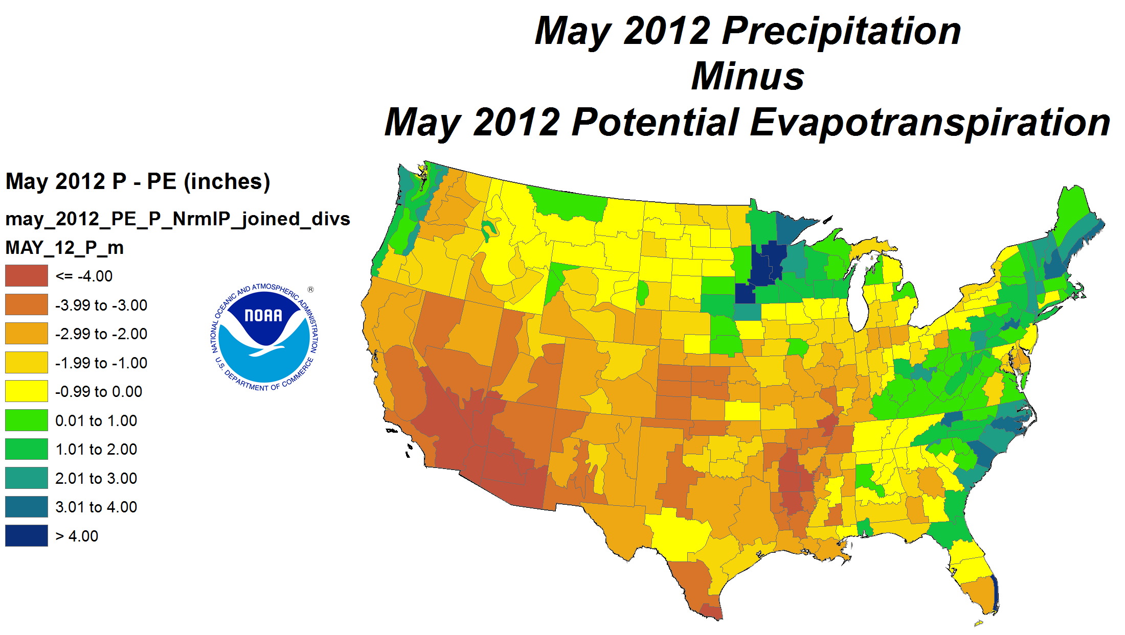 Precipitation minus Potential Evapotranspiration for May 2012 calculated using the Palmer Model