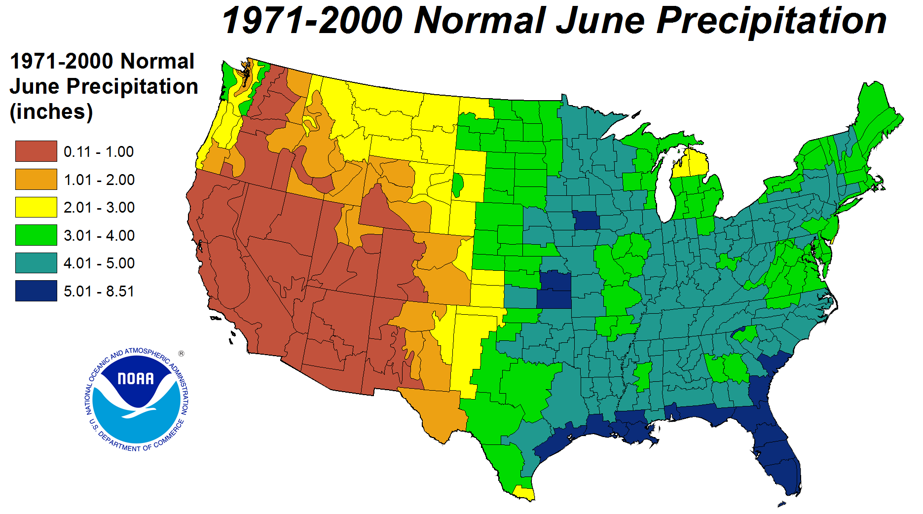 Drought June State Of The Climate National Centers For - United states precipitation map