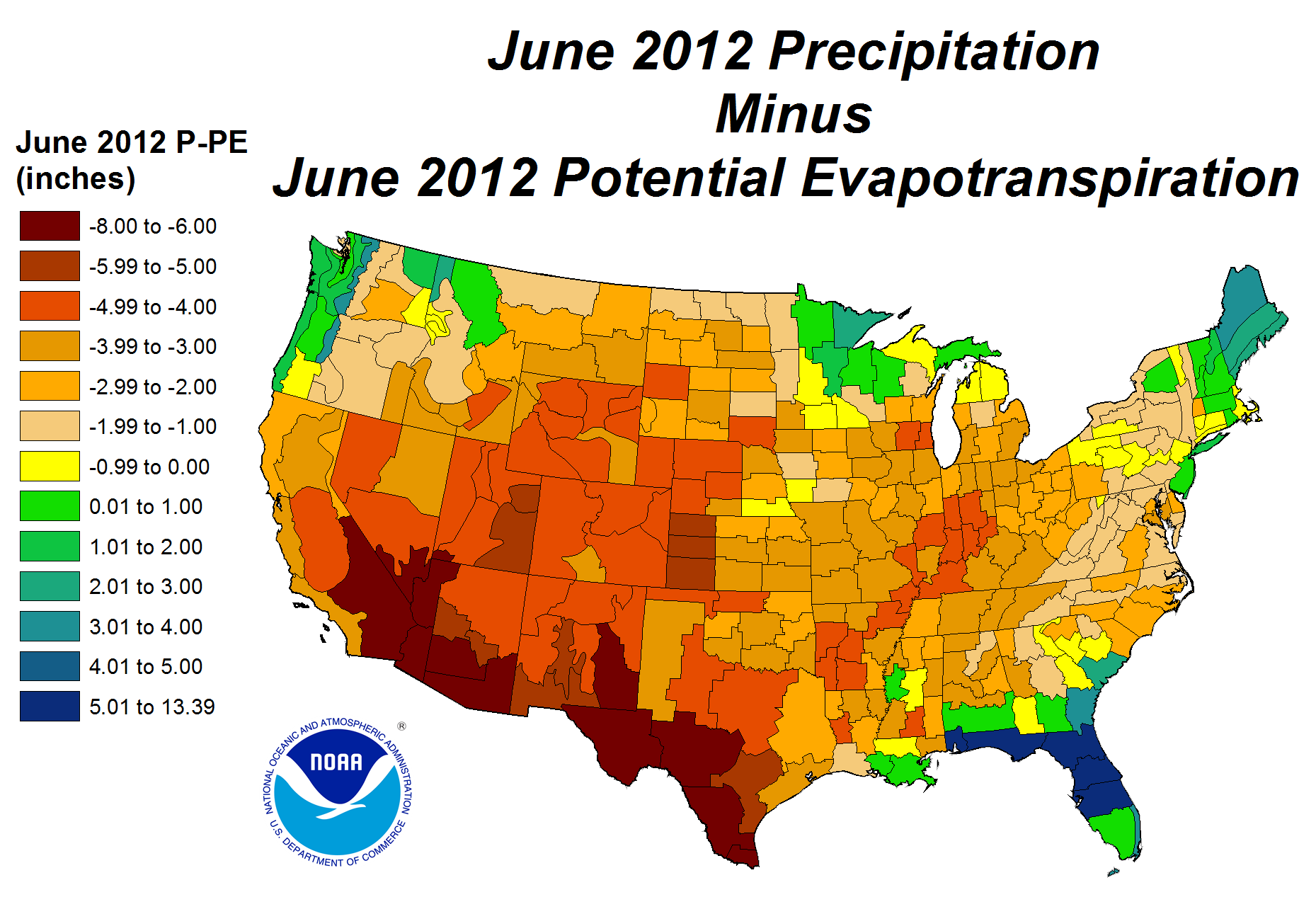 June 2012 Precipitation minus Potential Evapotranspiration map