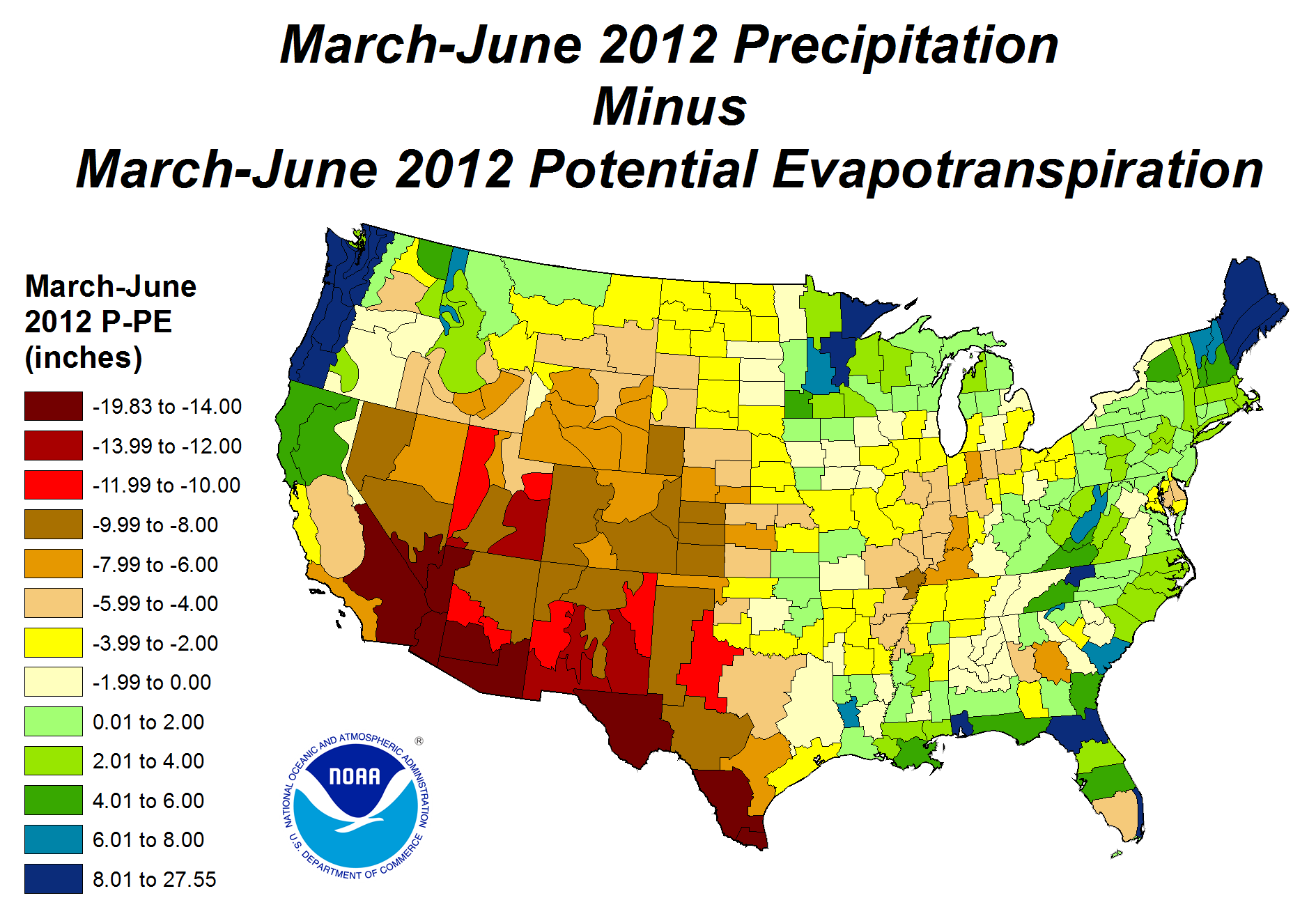 March-June 2012 Precipitation minus Potential Evapotranspiration ma