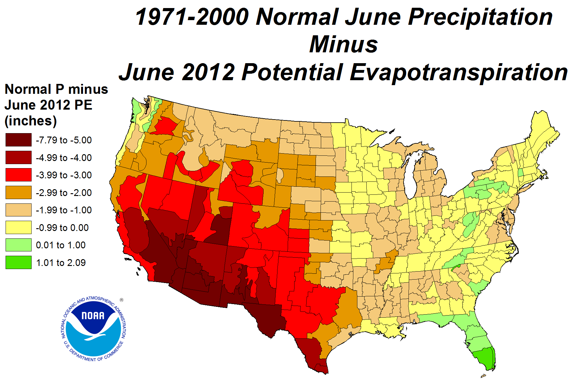 Drought June State Of The Climate National Centers For - Us map climate