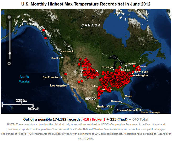 Record High Daily Temperatures in U.S. during June 2012