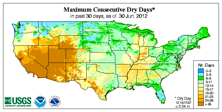 Map showing maximum consecutive number of days with no precipitation
