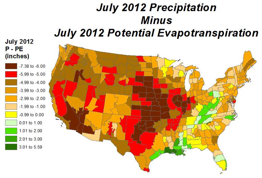July 2012 Precipitation minus Potential Evapotranspiration map