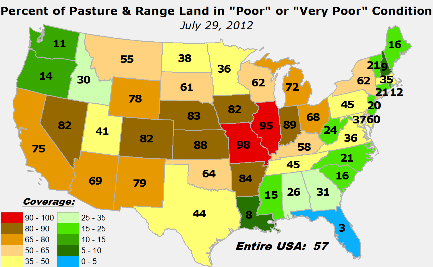 Map showing USDA pasture and rangeland conditions
