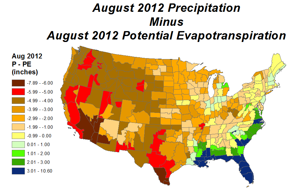 August 2012 Precipitation minus Potential Evapotranspiration map