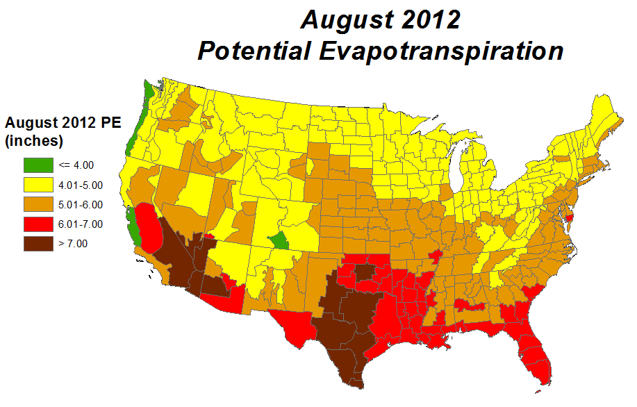 Drought August State Of The Climate National Centers - Us evaporation map