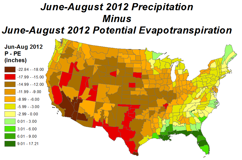 Summer (June-August) 2012 Precipitation minus Potential Evapotranspiration ma