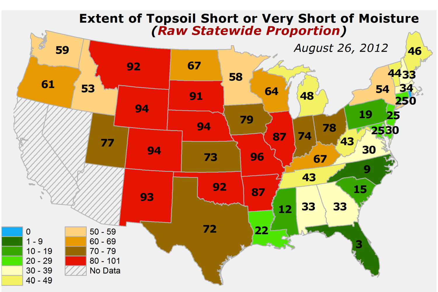 USDA topsoil moisture short to very short