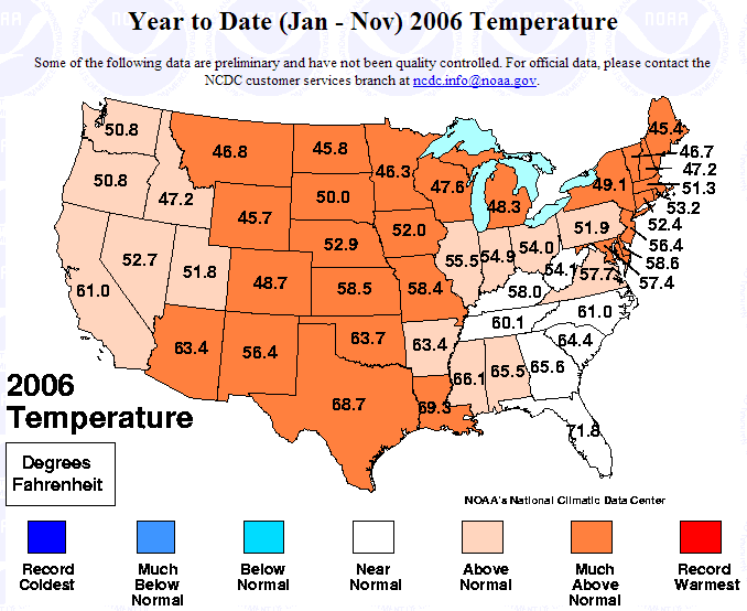 January-November 2006 statewide temperature ranks