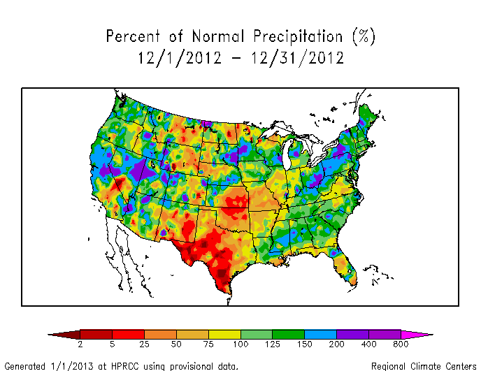 Monthly precipitation anomalies