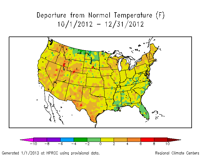 Map of three-month temperature anomalies