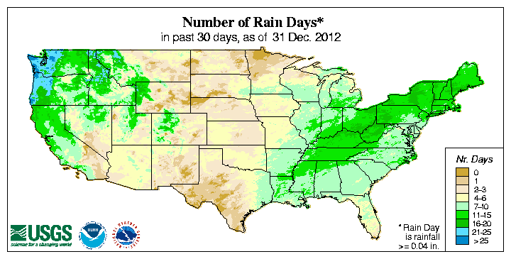 Map showing number of days with precipitation