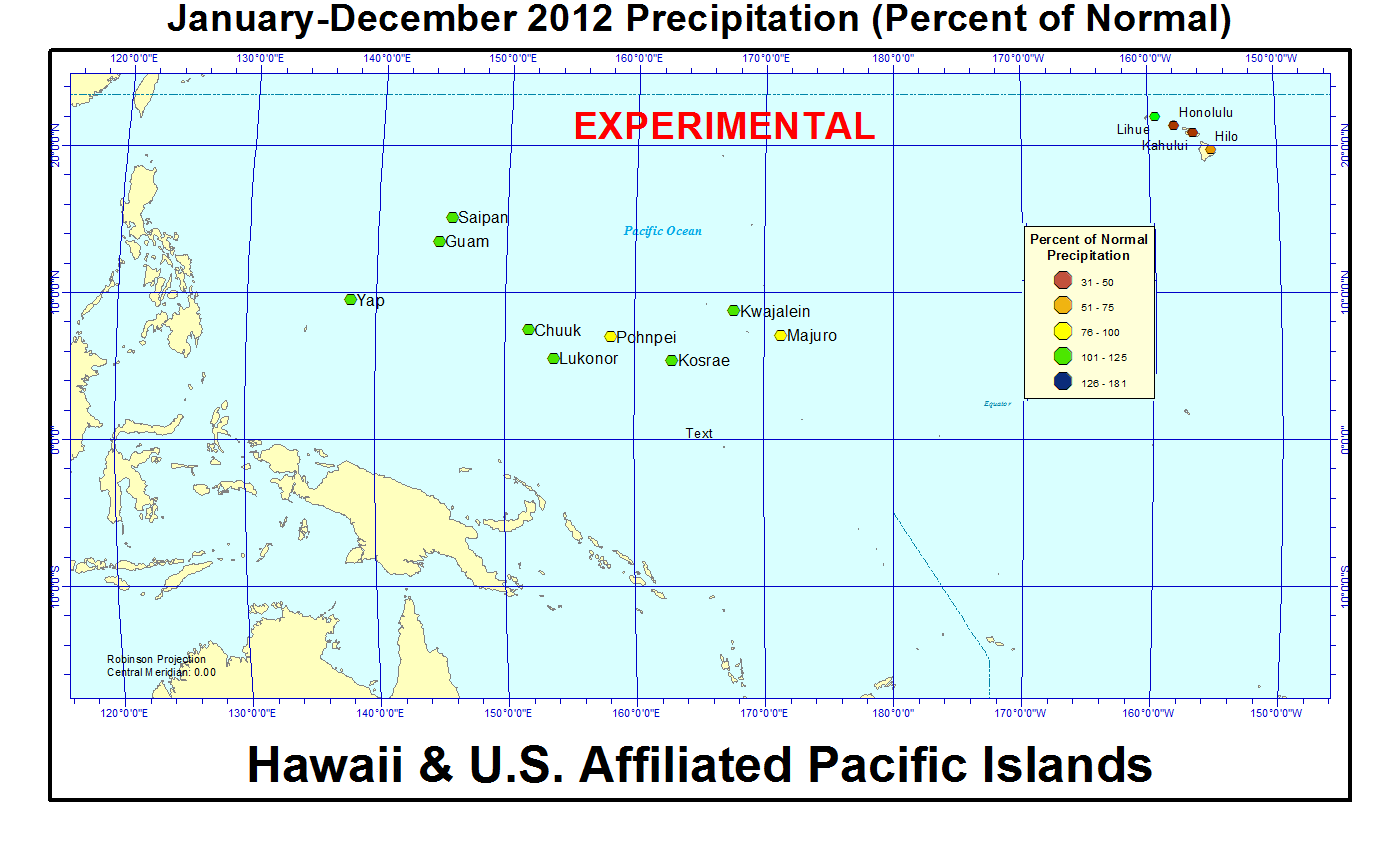 Percent of normal precipitation for 2012 for Hawaii and U.S. Affiliated Pacific Island stations