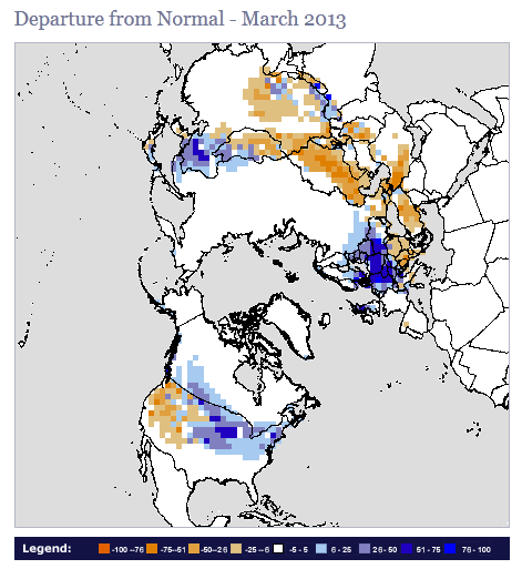 Synoptic Discussion March State Of The Climate National - Us snow coverage map
