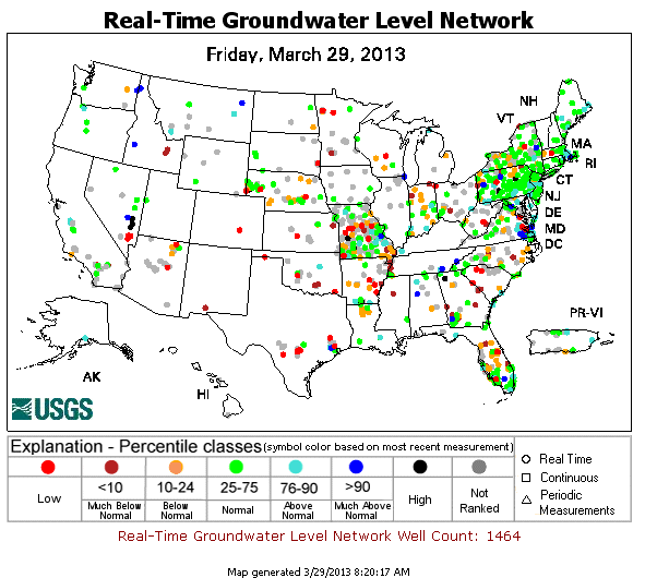 Map showing USGS real-time groundwater level percentiles