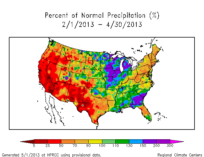 Map of three-month precipitation anomalies