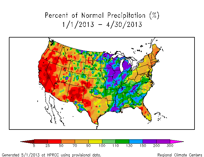 Map showing year-to-date percent of normal precipitation