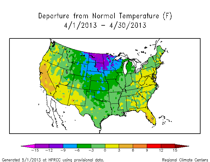 Map of monthly temperature anomalies