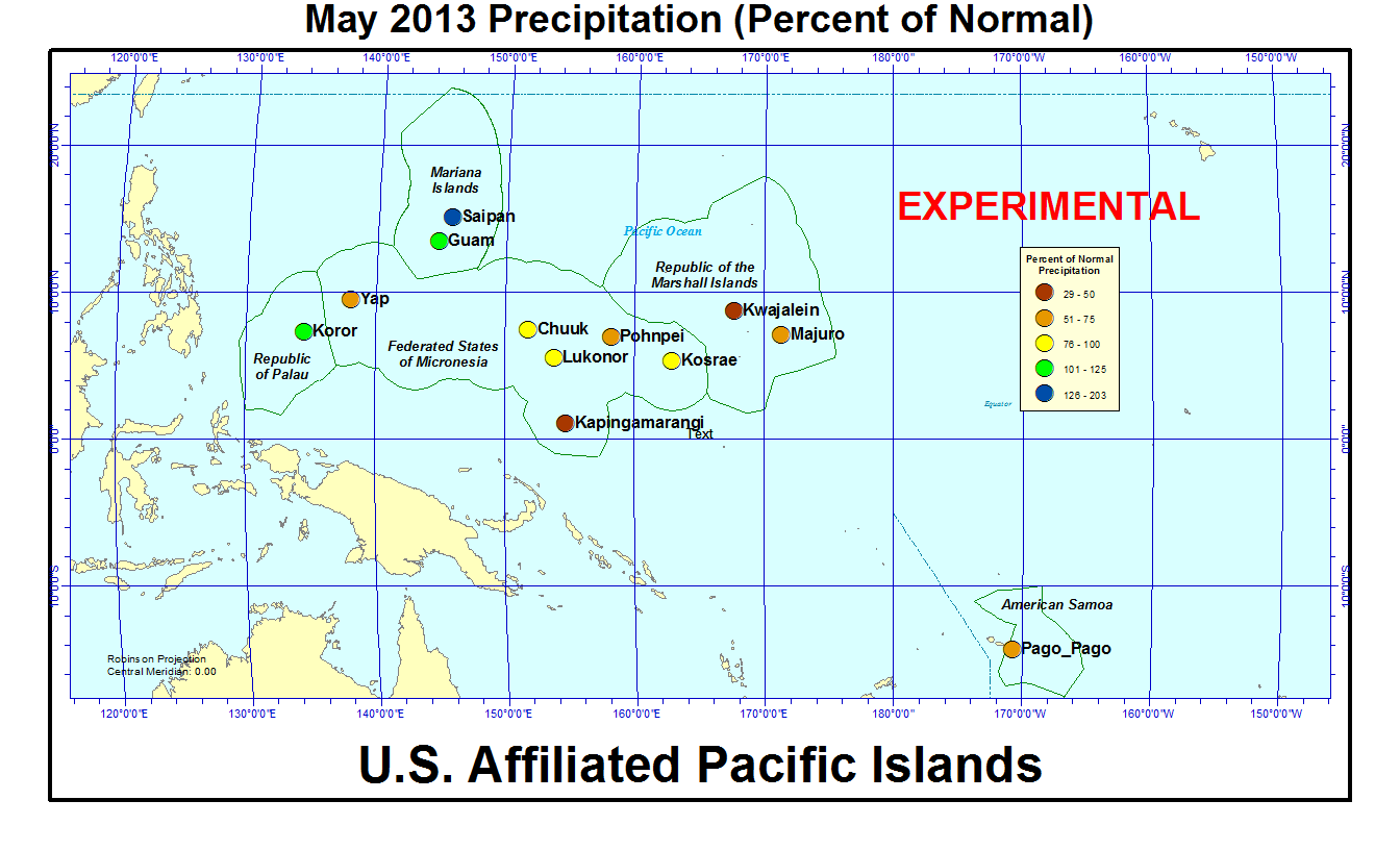 Percent of normal precipitation for current month for U.S. Affiliated Pacific Islant stations