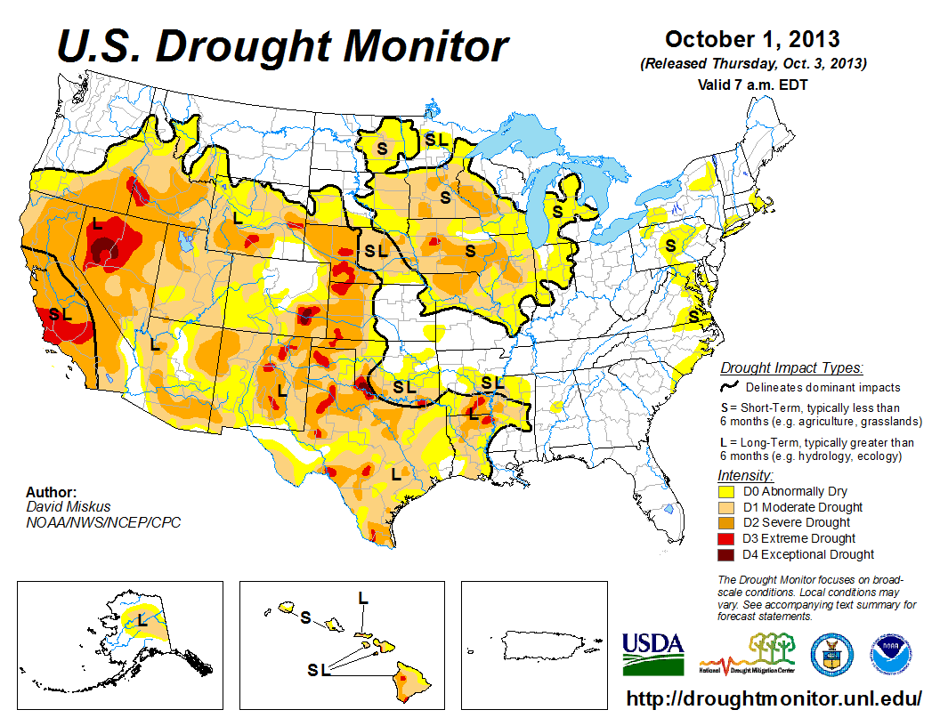 The U.S. Drought Monitor drought map valid October 1, 2013