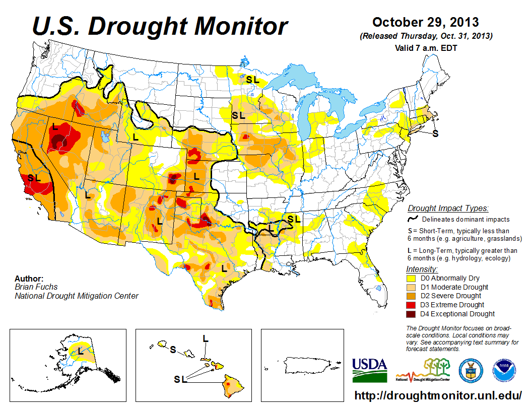 The U.S. Drought Monitor drought map valid October 29, 2013