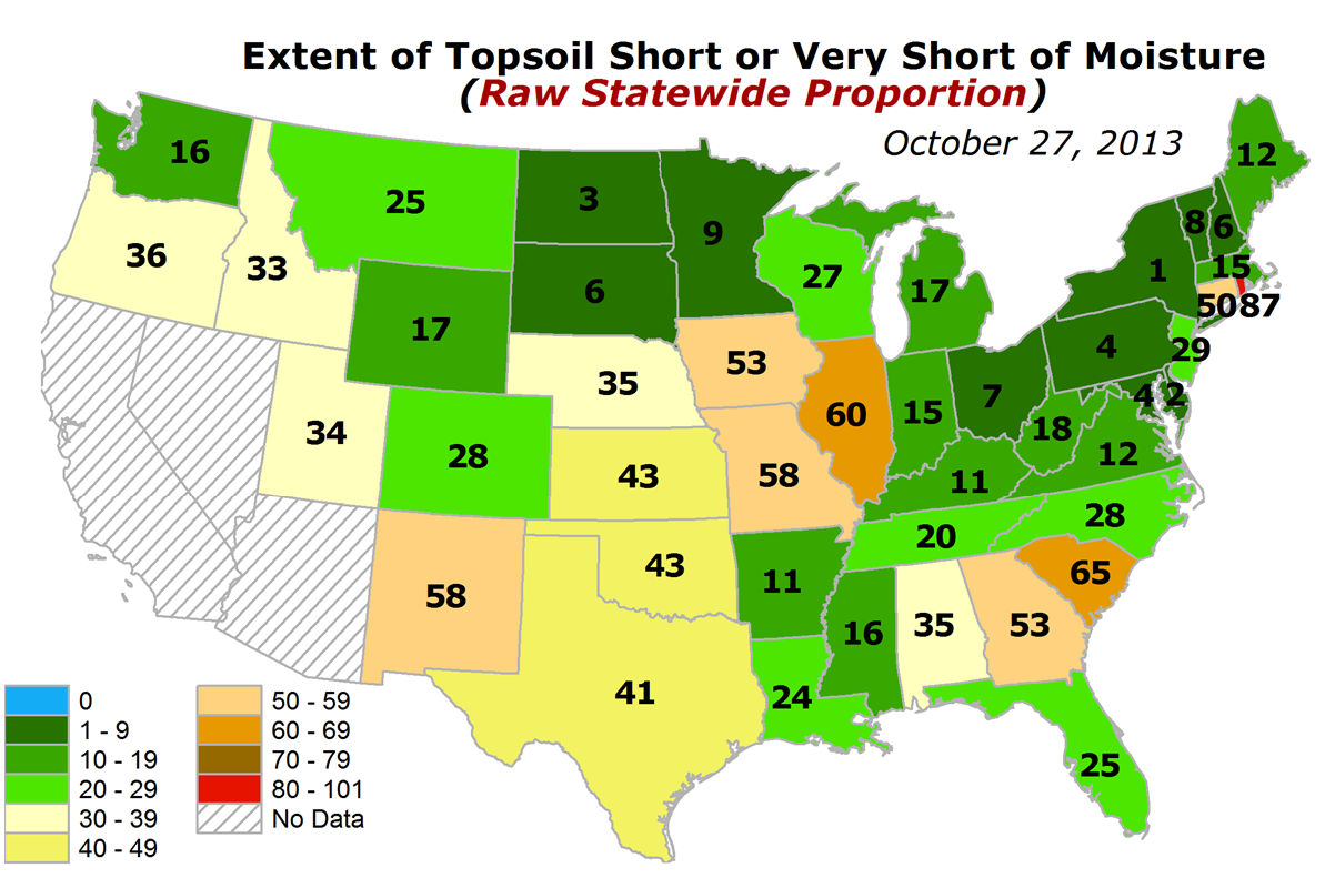 USDA statewide topsoil moisture percentages short or very short