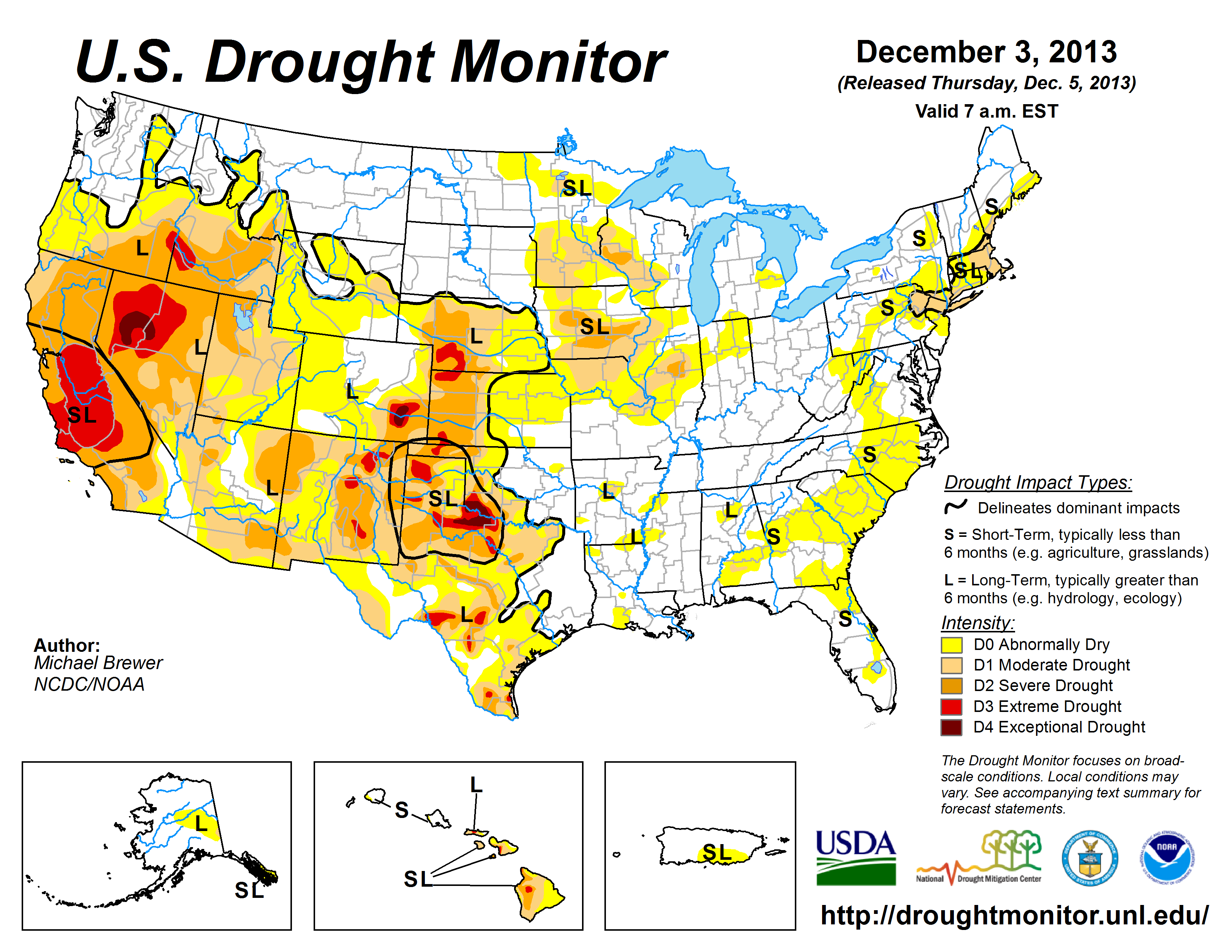 The U.S. Drought Monitor drought map valid December 3, 2013
