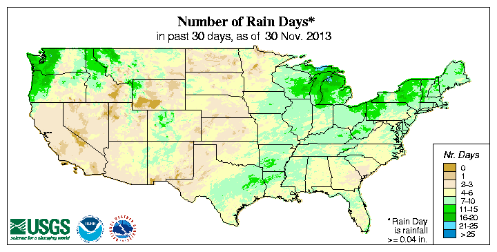 USGS (U.S. Geological Survey) Number of Days with Precipitation