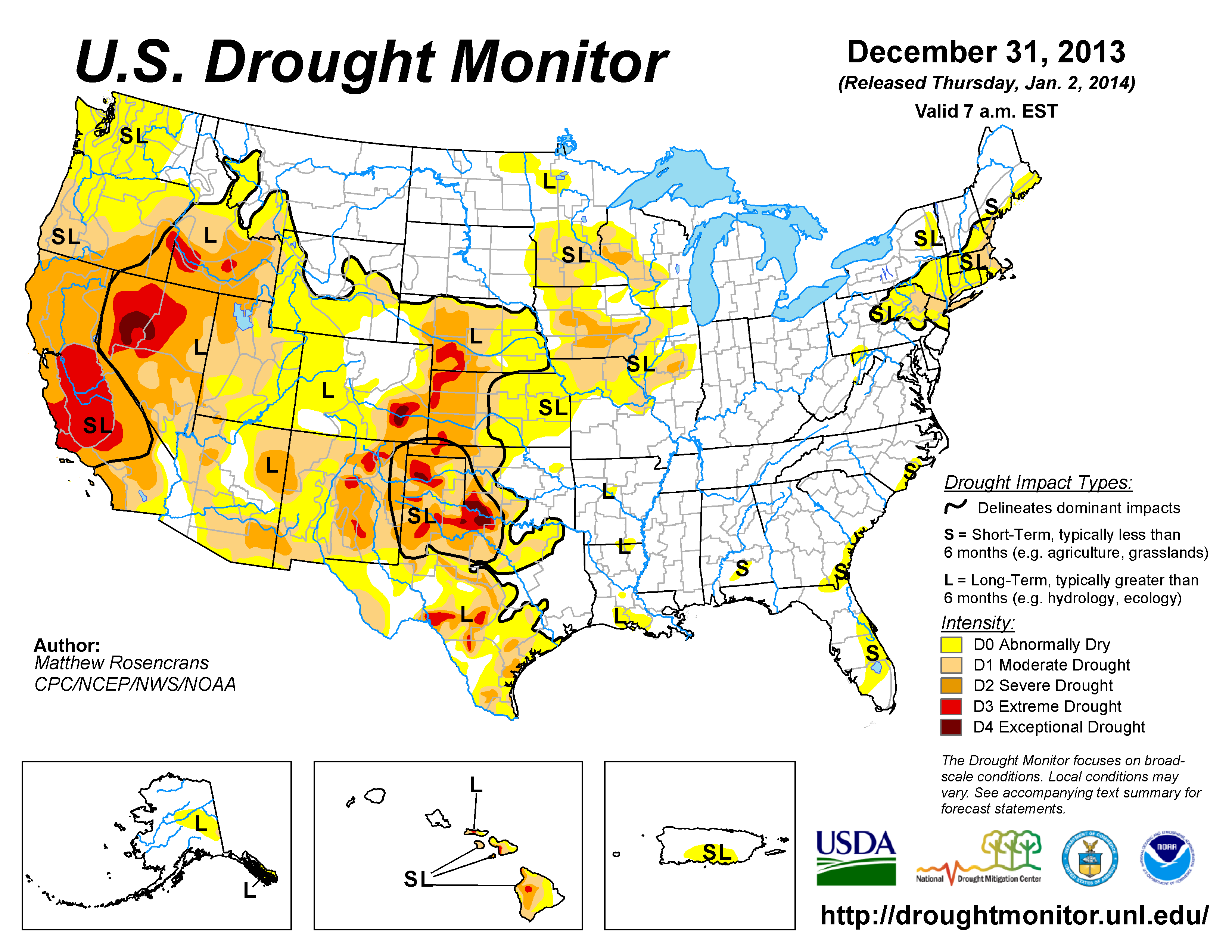 The U.S. Drought Monitor drought map valid December 31, 2013