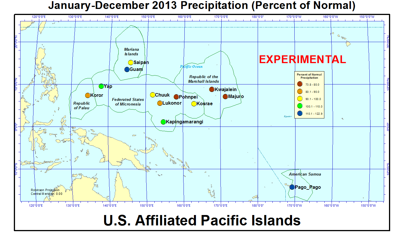 2013 Annual percent of normal precipitation for U.S. Affiliated Pacific Islands