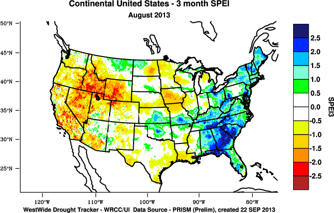september october and the southwest march june vs july september an exception was california which was persistently drier than normal for most of the