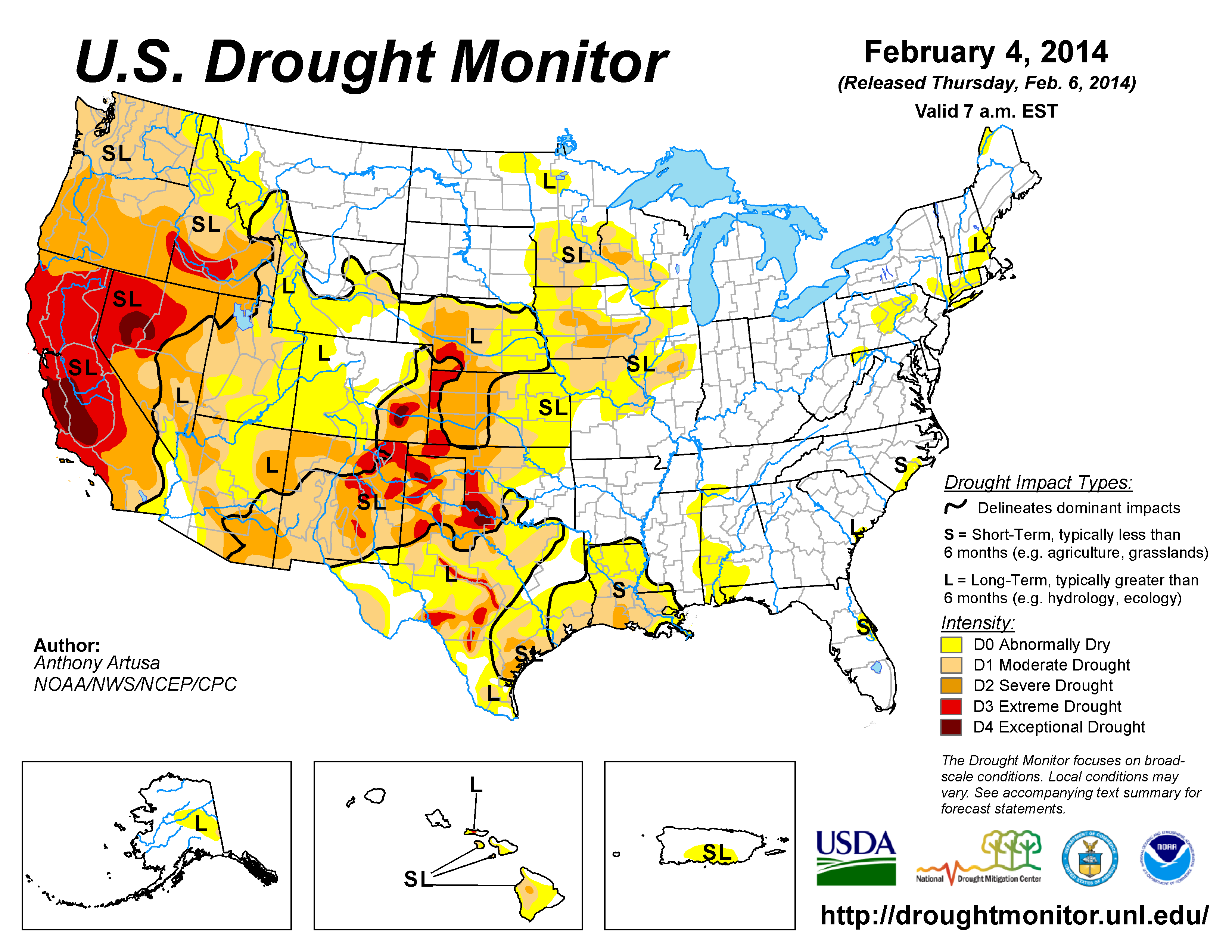 The U.S. Drought Monitor drought map valid February 4, 2014