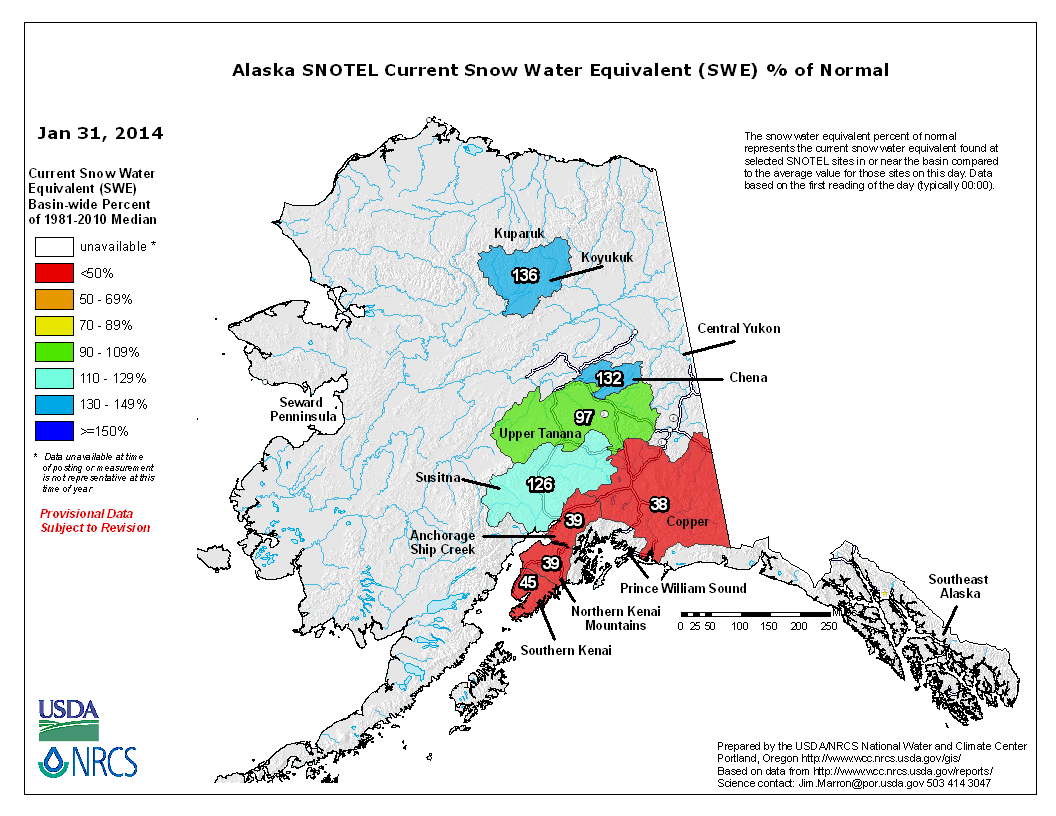 SNOTEL Alaska Basin SWE (Snow Water Equivalent) Percent of Normal