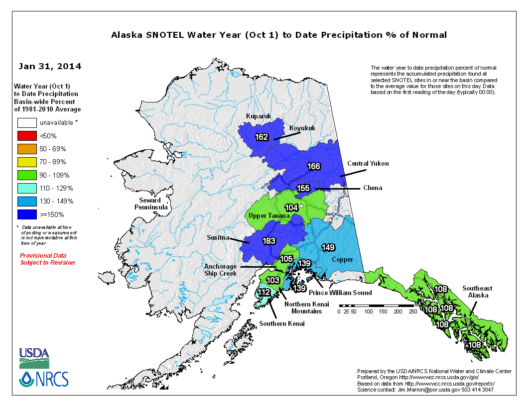 SNOTEL Alaska Basins Water-Year-to-Date (October 1-Present) Precipitation Percent of Normal