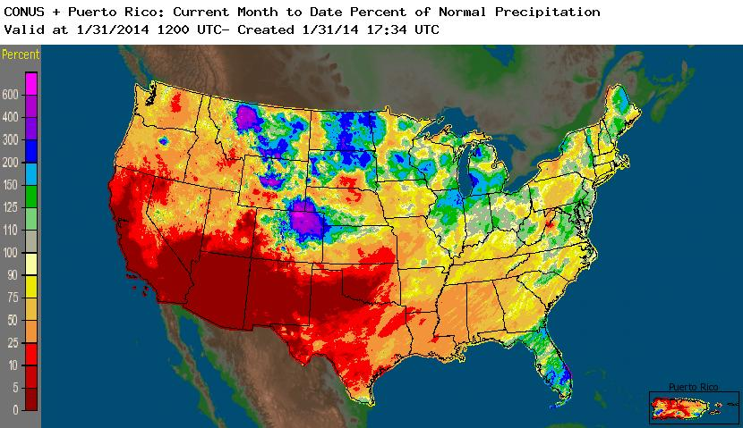 NOAA NWS (National Weather Service) Precipitation Percent of Normal