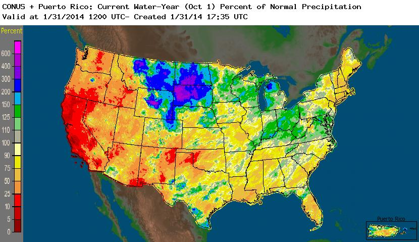 NOAA NWS (National Weather Service) Water-Year-to-Date (October 1-Present) Precipitation Percent of Normal