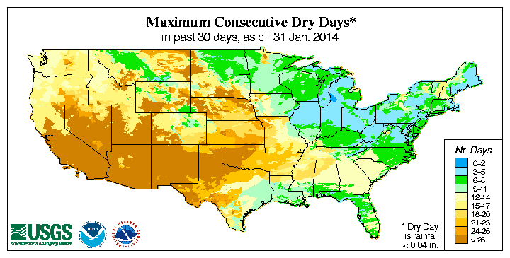 USGS (U.S. Geological Survey) Consecutive Days Without Precipitation