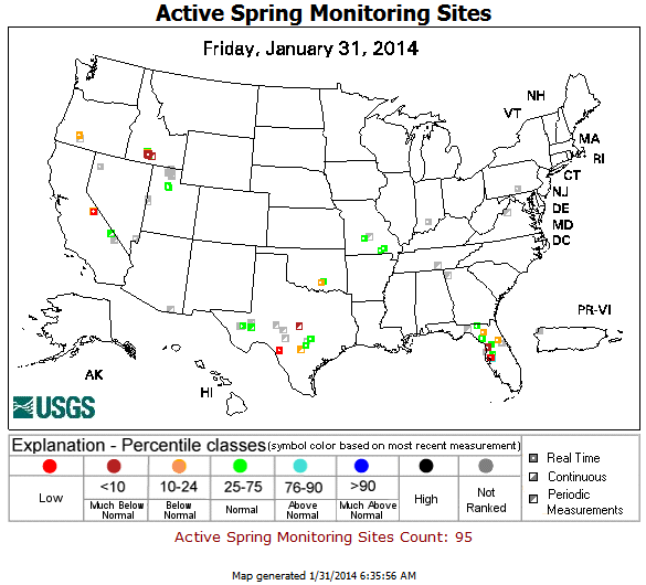 USGS (U.S. Geological Survey) Active Springwater Percentiles