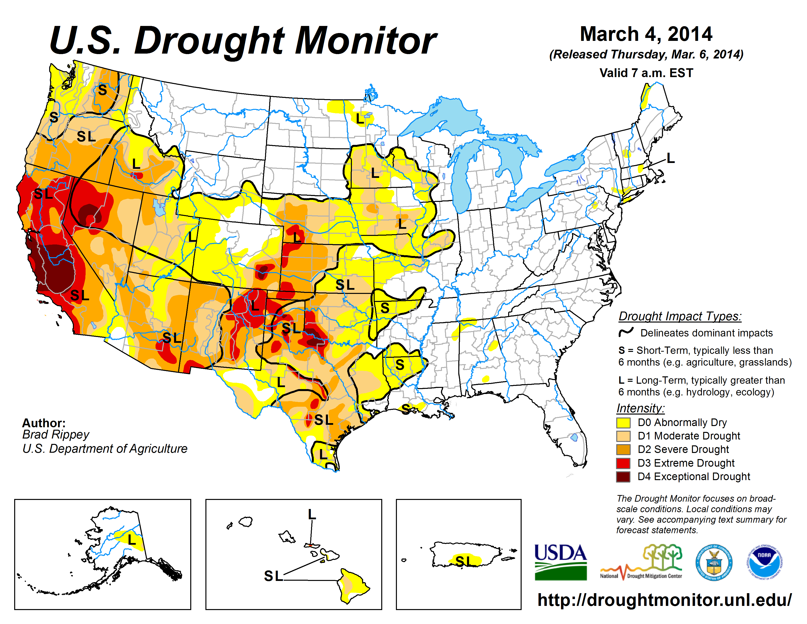 The U.S. Drought Monitor drought map valid March 4, 2014