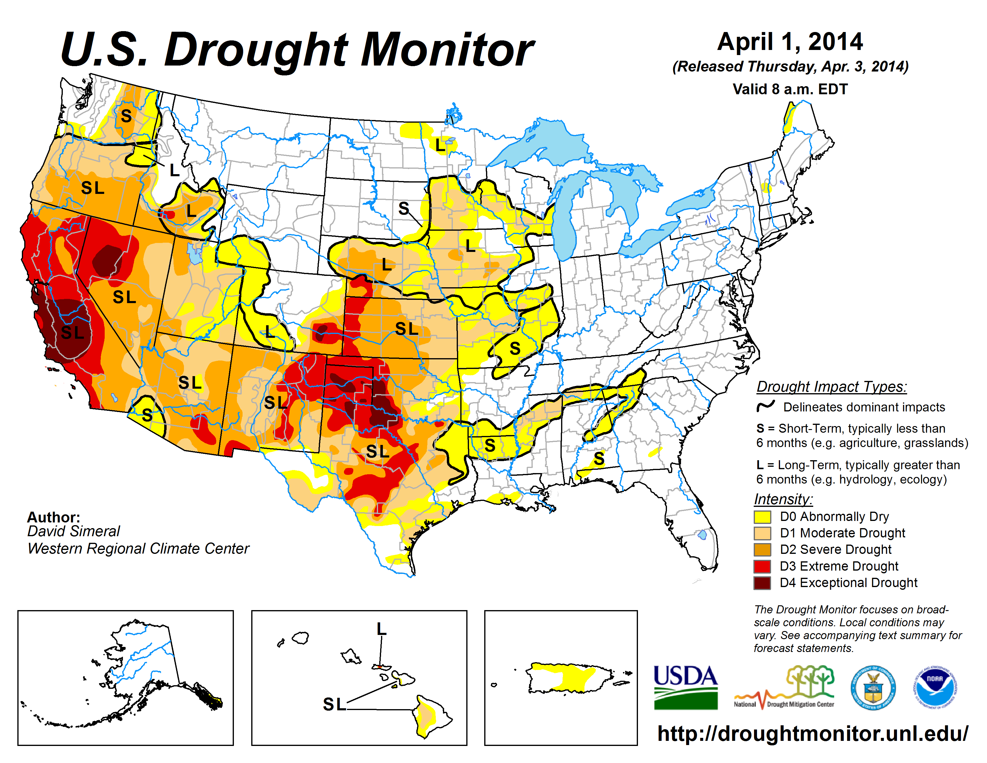 The U.S. Drought Monitor drought map valid April 1, 2014