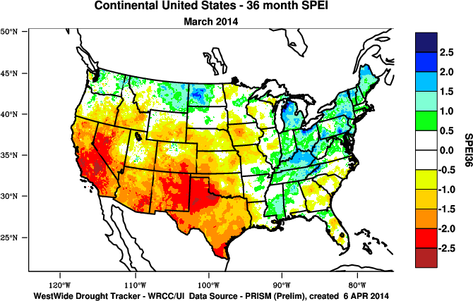 SPEI map for the 36 months ending March 2014