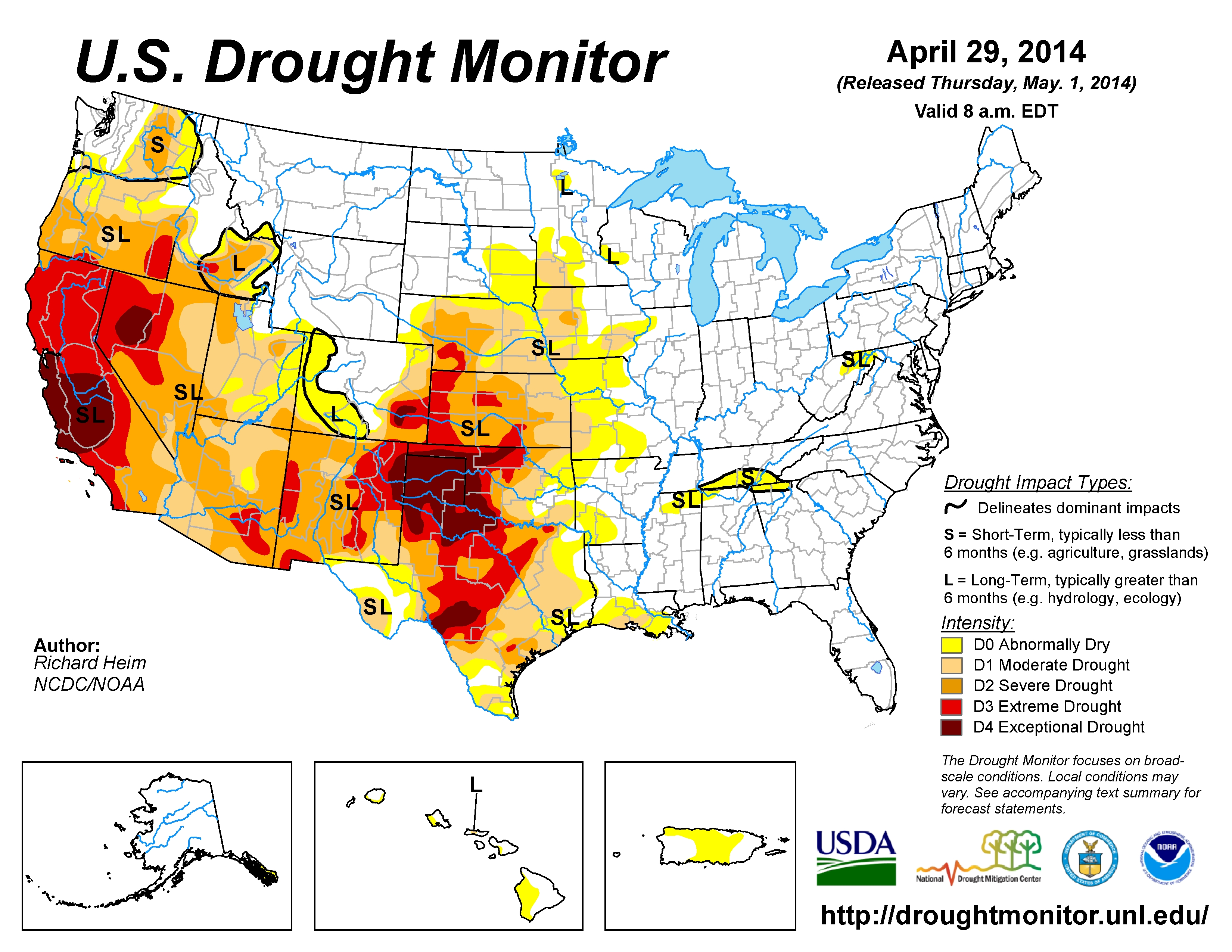 The U.S. Drought Monitor drought map valid April 29, 2014