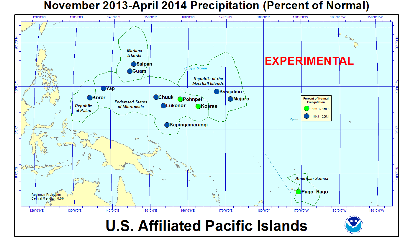 Percent of normal precipitation for last 6 months for U.S. Affiliated Pacific Island stations