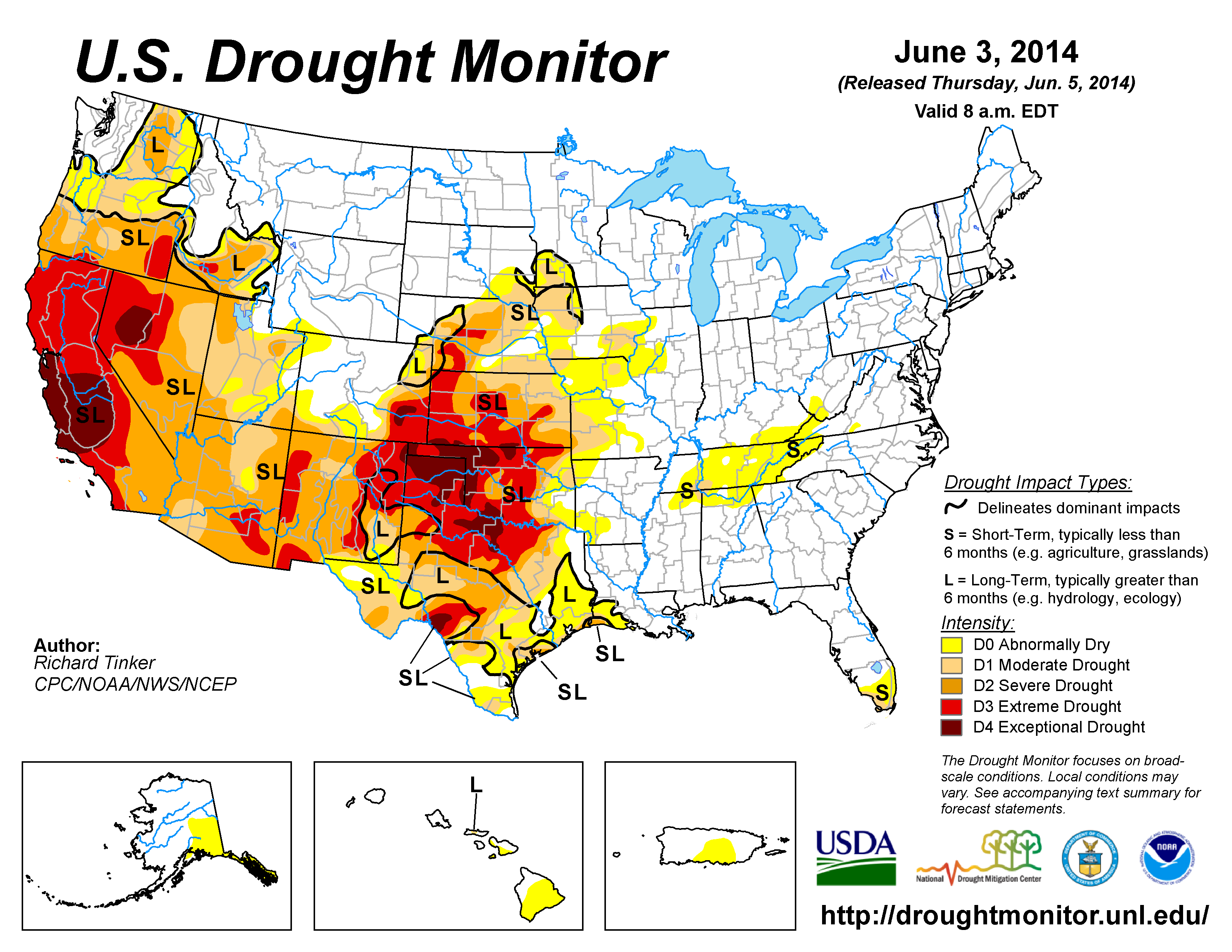 The U.S. Drought Monitor drought map valid June 3, 2014
