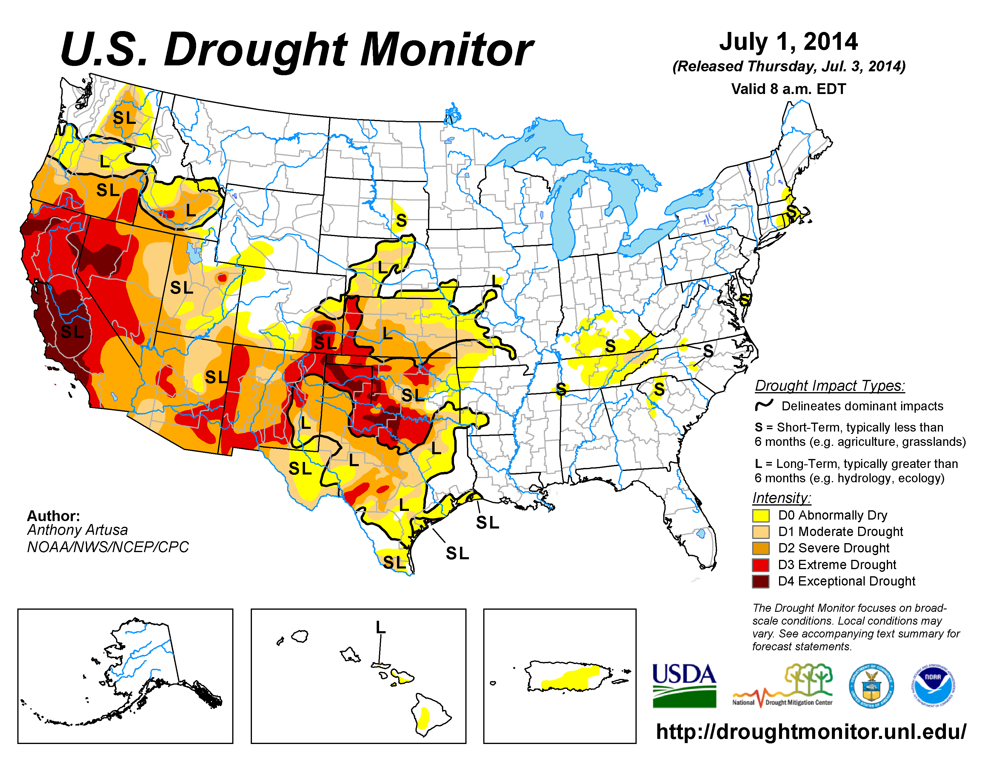 The U.S. Drought Monitor drought map valid July 1, 2014
